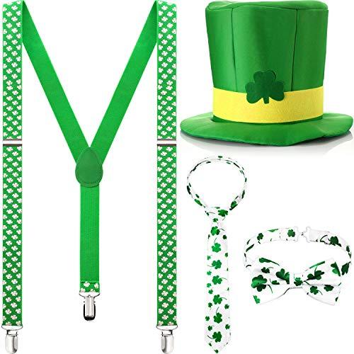 SATINIOR 4 Stücke St. Patrick's Day Kostüm Zubehör Shamrock Hosenträger Kleeblatt Krawatte Grüne Fliege Kobold Hut für St. Patrick's Day Party Dekoration