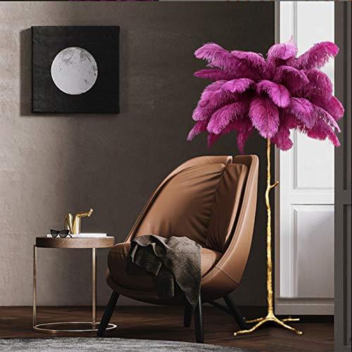 Izzya Einfache Leichte Luxus Stehlampe Kupferharz Straußenfeder Schlafzimmer Nachttischlampe Warme Und Kreative Wohnzimmer Studie Feder Stehlampe,1.2m