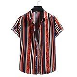Shirt Spiaggia Uomo Estate Moda Stampa Uomo Shirt Colletto Kent vestibilità Regolare Abbottonatura Maniche Corte Uomo Shirt Casual personalità Hawaii Vacanza Uomo T-Shirt F-006 S