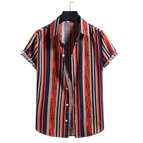 Camisa Hombre Suelta Y Cómoda con Cuello Kent Camisa Verano Informal Hombre Tops Manga Corta Camisa Playa Vacaciones Hawaianas Camisa con Botones Camisa A Cuadros A Rayas F-006 XL