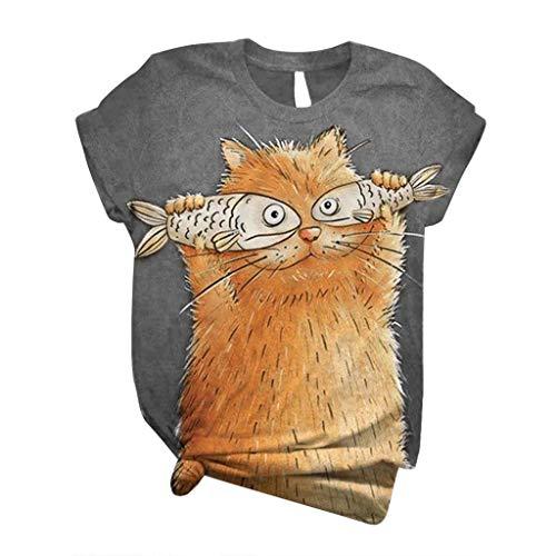 ELECTRI T-shirt à manches courtes pour femme Motif chat et poisson