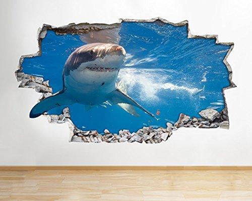 Z078 Shark Ocean Sea Animal Boys Bathroom Wall Decal Poster 3D Art Stickers Room Kids Bedroom Baby Nursery Cool Livingroom Hall Boys Girls (Medium (52x30cm))