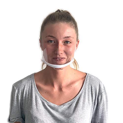 DECADE® 10 Stück Safety XL Premium mehrteiliges Gesichtsschutz Plastik Mund und Nasenschutz Visier austauschbar Face Shield Mundvisier Mouthshield Mund Nase Visier Schutzvisier