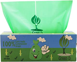 GreenD 100% Green, Natural, Biodegradable, Compostable Thick Bin Liners 6 L (1.5 Gal) - 100 Count
