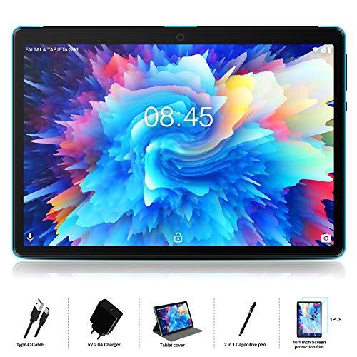 Tablet 10 Pulgadas Android 10.0 -  MEBERRY Ultrar- Rápido Tableta 4GB RAM+64GB ROM -  Certificación Google gsm -  Dual SIM -  8000mAh |WI- FI|Bluetooth|GPS| Type- C Tablet (5.0 8.0 MP Cámara) - Bleu