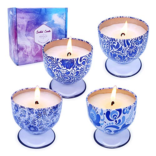 iwax Scented Candles for Women Gift, 4oz Natural Soy Wax Candles with 4 Fragrance for Stress Relief & Home Decor-4 Pack