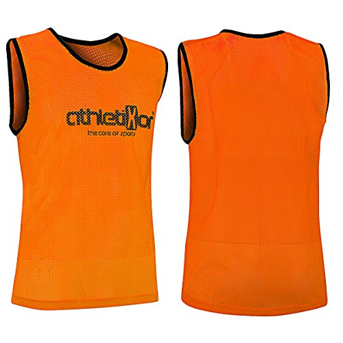 athletikor 10 Fußballleibchen - Trainingsleibchen - Leibchen - Markierungshemden (Orange, ab B Jugend - Erwachsene XL: 73X60CM)