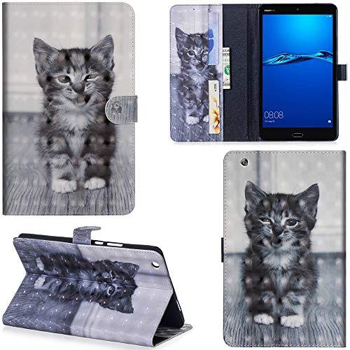 Ooboom Huawei MediaPad M3 Lite 8 8,4 Zoll Hülle 3D Flip PU Leder Schutzhülle Tasche Hülle Smart Cover Ständer mit Kartenfach Integrierten Kartensteckplätzen Magnetverschluss - Katze