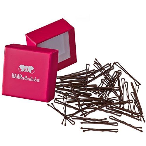 HAARallerliebst 50 Mini Haarklammern Bobby Pins braun 3,4cm klein in Pinker Box (Schachtelfarbe Pink)