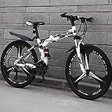 BNMKL 24 Pulgadas Bicicleta Plegable Adulto, 3 Cortadores Rueda, 21/24/27 Velocidad Bicicleta De Montaña, Bicicleta Plegable para Hombres/Mujeres,Negro,24 Inch 27 Speed