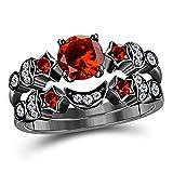 DS Jewels Moon Star Style Wedding Band Bridal Set 1.75 tcw CZ Garnet & Cubic Zirconia Round Moon Star Wedding Band & Engagement Bridal Ring Set Size 4 to 57
