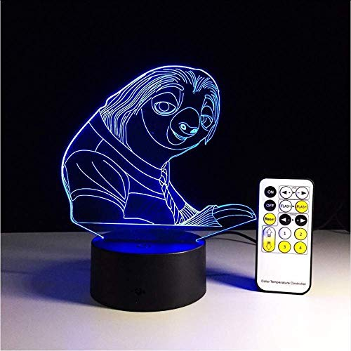 Crazy Animal City 7 Colors Changing 3D Remote Touch Bulbing Light Sloth Illusion USB Led Lamp Creative Action Figure Kids Gift