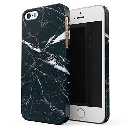 BURGA Hülle Kompatibel mit iPhone 5 / 5s / SE Handy Huelle Schwarz Mit Gold Marmor Black Marble Mädchen Dünn Robuste Rückschale aus Kunststoff Handyhülle Schutz Case Cover