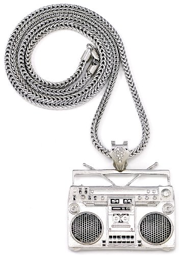 GWOOD Boom Box Silver Color Pendant with 36 Inch Long Franco Necklace Cassette