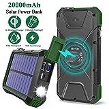 Solar Charger 20000mAh, Qi Wireless Portable Solar Power Bank High Capacity, IPX5 Splashproof