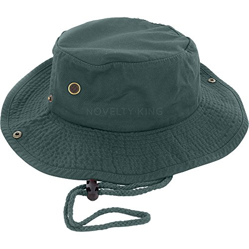 DealStock 100% Cotton Boonie Fishing Bucket Men Safari Summer String Hat Cap (15+ Colors) Dark Green L XL