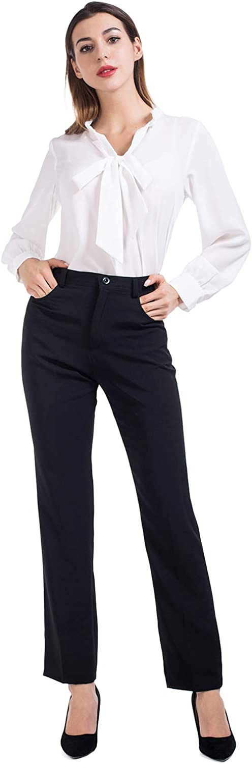 AUQCO White Blouse for Women Long Sleeve V Neck Work Shirts with Bowtie