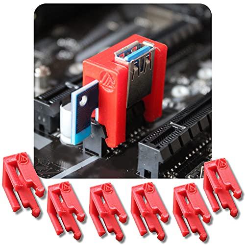 [6 Stück] PCI RISER LOCK CLIP – Sicherung PCI-Extender für Bitcoin, Ethereum, Zcash auf dem Mainboard, um falsche Kontakte zu vermeiden. Mining Rig AMD rx 570, 580, 470, 3060ti, 3080, 3070