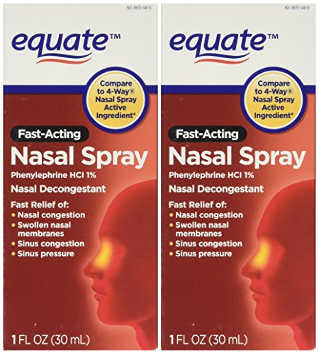 Equate - Nasal Four, Phenylephrine Hydrochloride, Decongestant Spray, (Compare To 4 Way), 1-Ounce (Pack of 2)