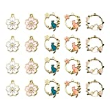 20PCS Gold Plated Enamel Flower Cat Charms for Jewelry Making Necklace Bracelet Earring and Slime DIY Jewelry Accessories Charms