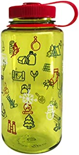 Nalgene Tritan Wide Mouth BPA-Free Water Bottle, 32 Oz, Spring Green/Red Icons