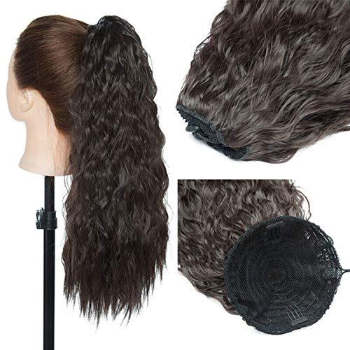 Extensión de cola de caballo rizada larga Extensiones de cabello de cola de caballo con cordón ondulado de maíz Piezas de cabello para mujeres Marron oscuro