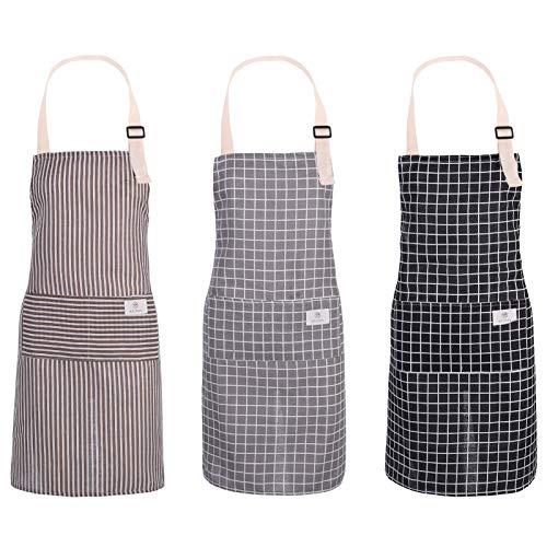 adakel 3 Stück Wasserdicht Schürze, Baumwolle Leinen Kochschürze Verstellbare Küchenschürze für Kochen, Backen, Basteln, Grtnern und Grillen(Style 02)