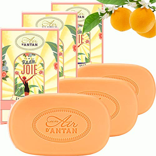 Pack 3x100g Seife JOIE Un Air d'Antan/Parfüm: Orangenblüte/Bio-Arganöl & Bio-Sheabutter/Parabenfreie/Seife BIo/Organische Seife/Körperseife/Feste Seife/So Mild Wie Savon De Marseille/Duftseife