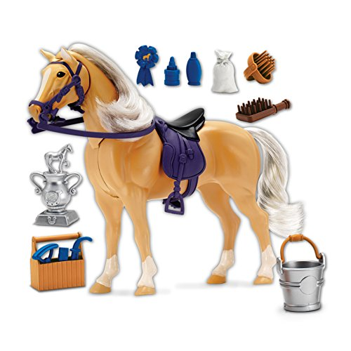 Palomino Horse with Moveable Head, Realistic Sound and 14 Grooming Accessories – Blue Ribbon Champions Deluxe Toy Horses