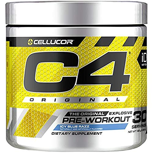 C4 Original Pre Workout Powder ICY Blue Razzxa0| Vitamin C for Immune Support | Sugar Free Preworkout Energy for Men & Women | 150mg Caffeine + Beta Alanine + Creatine | 30 Servings