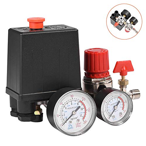 Válvula de presión de compresor de aire de 4 puertos con regulador de control de interruptor con calibres para una rápida reducción de presión