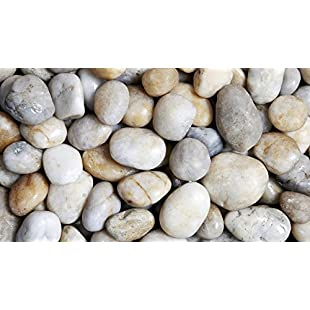 Round Wood Trading 3-5 cm Polished Pebbles 1kg Natural White Decorative Garden Plant Topper Stones:Hashflur