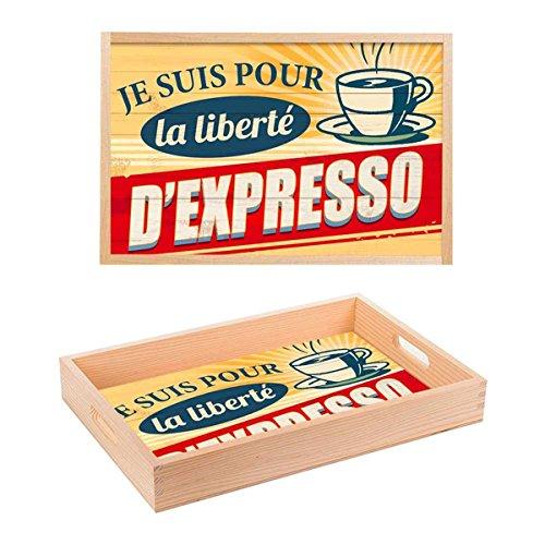 Les Trésors De Lily [Q0683 - Plateau Bois 'Je suis pour la liberté d'Espresso' Jaune Rouge Beige - 35x23x4.5