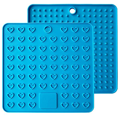 Baomasir 2 stuks silicone isolatiematten plaats voor levensmiddelen Honeycomb pannenlap antislip hittebestendige placemats voor Pot Pan Bowl Cup blauw