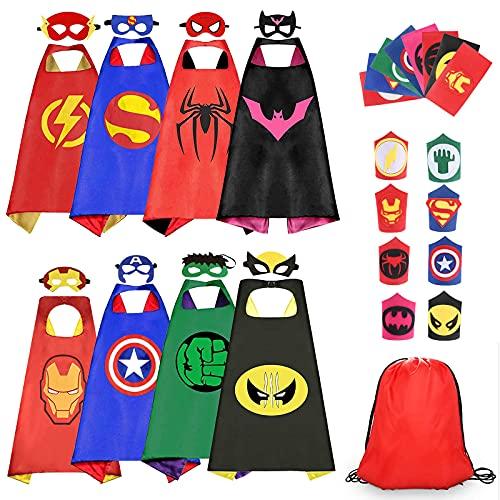 Capa de Superhéroe para Niños, 8PCS Disfraces de Superhéroe con 8 Capas-8 Máscaras-6 Slap Pulseras-1 Bolsa, Disfraces Halloween Infantiles para Cosplay Fiesta de cumpleaños Regalos Niña Niño 3-12 Años