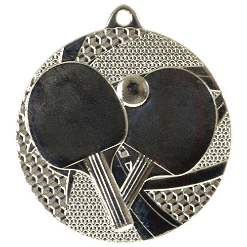 pokalspezialist 10 Stück Medaille Bronze Tischtennis Tischtennis-Medaillen rund 50mm, 3mm stark, Stahl