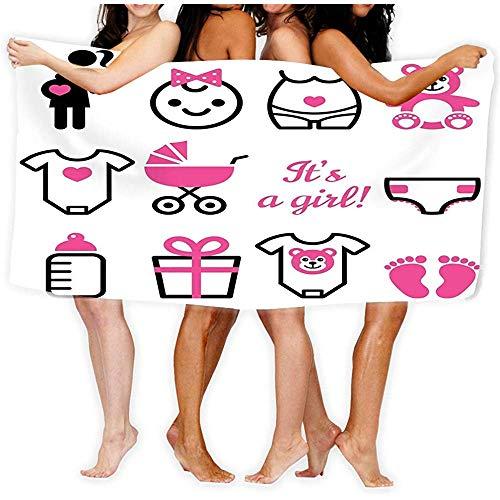 Zome Lag Beach Handdoek Zacht Snel Droog Lichtgewicht Hoge Absorbens Zwembad Spa Handdoek voor Volwassen 80X130CM baby meisje douche iconen set zwangere vrouw pasgeboren ontwerp zwangerschap icoon collectie s schattig roze zwart