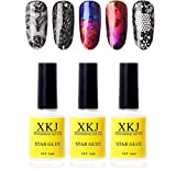 XICHEN 3 bottles Professiona Starry Sky Nail Art Glue for Foil Sticker Nail Transfer Tips Decorations Adhesive White 16 ML/bottles