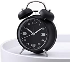 Cotchear 4 inches Twin Bell Alarm Clock, Extra Loud Machinical Ringtone, Frosted Shell, Backlight, No Noise Desk Clock for Home Office (Black)