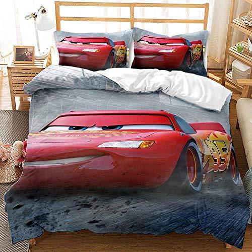 YMYGYR Ropa de Cama con patrón Car Story Impresa en 3D, Funda nórdica y Funda de Almohada Suaves y cómodas, niños decoren el Dormitorio-F_135x200cm (2 Piezas)