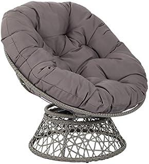 OSP Designs Papasan Chair with 360-degree Swivel, Grey Cushion Frame