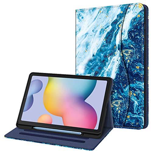 Fintie Hülle für Samsung Galaxy Tab S6 Lite, Soft TPU Rückseite Gehäuse Schutzhülle mit S Pen Halter & Dokumentschlitze für Samsung Tab S6 Lite 10.4 Zoll SM-P610/ P615 2020, Meeresblau