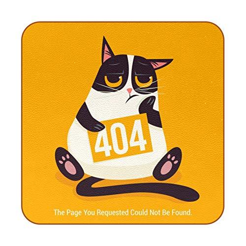 Bennigiry Cute Angry Cat Kitty 404 Error Page - Posavasos resistentes al calor para taza de café y té, juego de 6