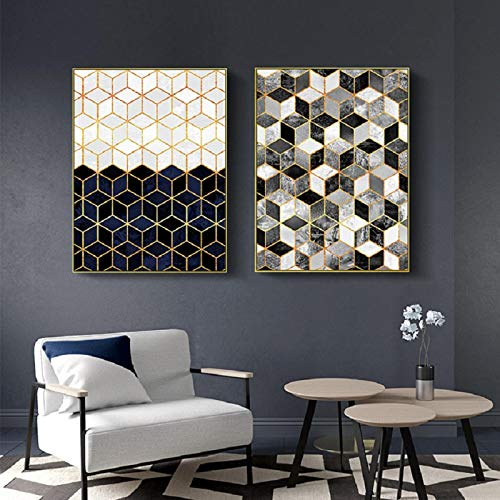KELEQI Arte de Pared Abstracto geométrico mármol Lienzo Pintura Cartel Impresiones Imagen para Sala de Estar Interior Oficina decoración del hogar (20x35cm) X2 sin Marco