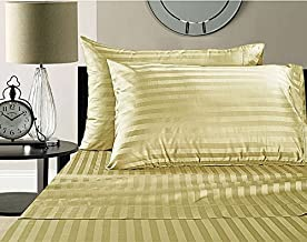 Linenwalas 210 TC Cotton Single Bedsheet with Pillow Cover - Striped, Ivory