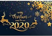 Zhy 2020クリスマス背景ポリエステル生地7x5ft新年あけましておめでとうございます写真背景クリスマスパーティーの装飾星トナカイ写真紙吹雪クリスマスイブイベント装飾写真小道具