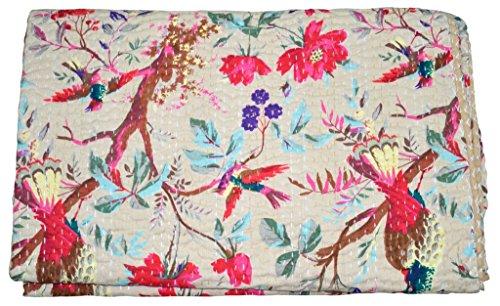 Majisacraft indische handgefertigte Quilt Vintage Kantha Tagesdecke Bedding Vogel Print Überwurf Baumwolle Decke Ralli = Gudari