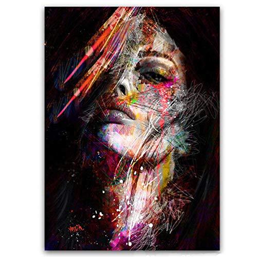 Graffiti-Kunst Leinwandmalerei Pop-Art-Afroamerikaner-Weibliches Schwarzes Kunstplakat Bild Frauen-Modell in Der Wandkunst-Malerei Auf Leinwanddruck Hauptakzent Wanddekoration, Kein Rahmen,40×60cm