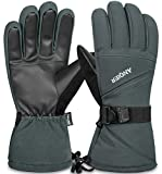 coskefy Ski Handschuhe Winter Wasserdichte Atmungsaktive Schnee Handschuhe für Herren Damen Skifahren Snowboarden (Orange)