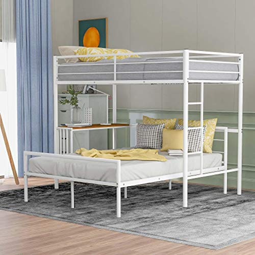 Creativem Bunk Bed for Kids, Bunk Bed with Desk Modern Style Easy Assembly with Guard Rail and Ladder Space Saving Metal Twin Bunk Bed for Bedroom Dorm Boys Girls Adults White